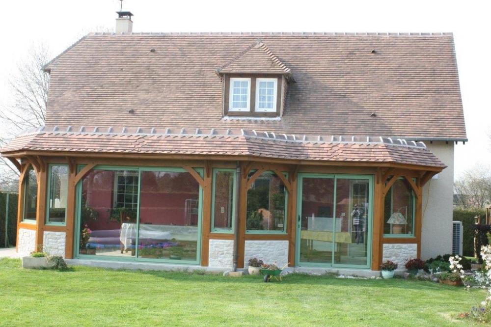 Plan Veranda Bois Simple Myotte Duquet Bois Reportage Maisons Ossature Bois Esprit Zen With  # Plan Veranda Ossature Bois